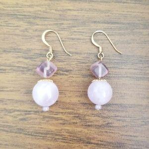 VTG Real Purple Stone Dangle Earings
